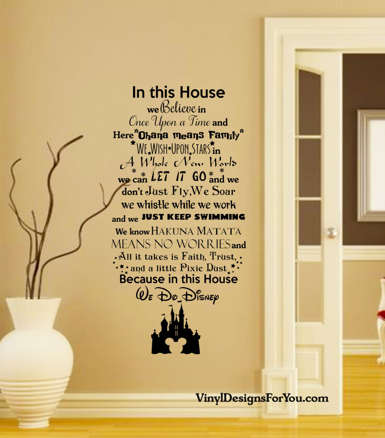 Best ideas about Disney Wall Art . Save or Pin In this House We do Disney Wall Decal with Mickey Mouse Now.