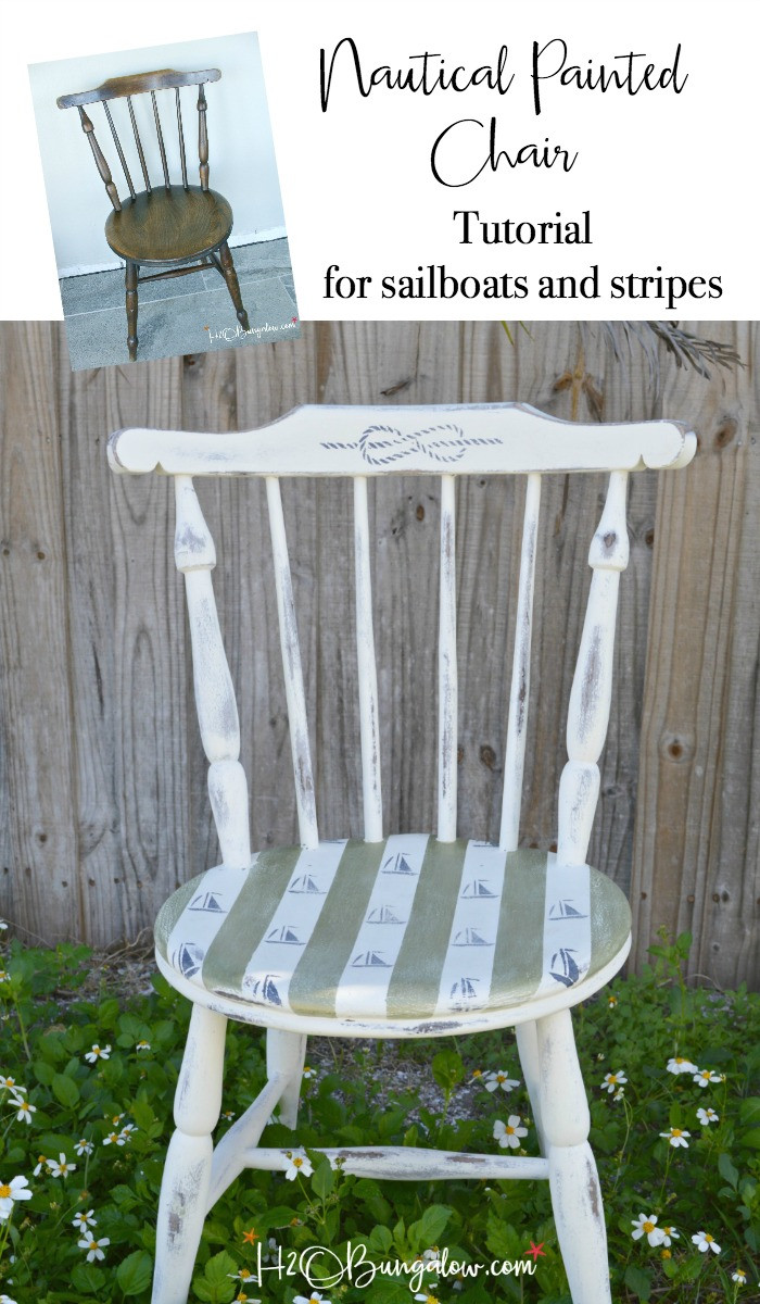 Best ideas about DIY Accent Chair . Save or Pin Sailboats and Stripes DIY Nautical Accent Chair H20Bungalow Now.