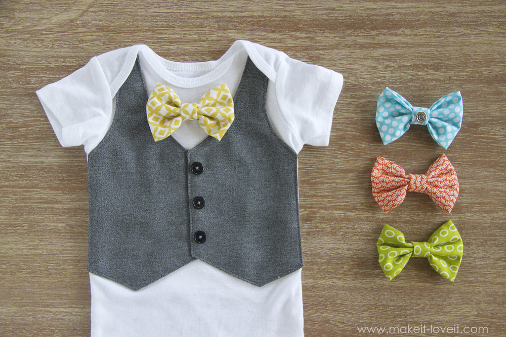 Best ideas about DIY Baby Bow Tie . Save or Pin Faux Vest esie with Interchangeable Bowties Now.