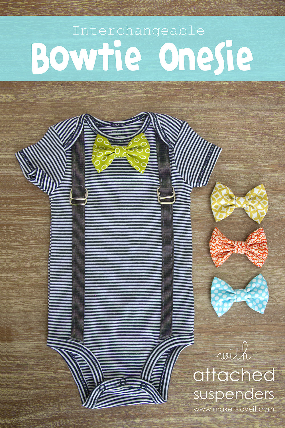 Best ideas about DIY Baby Bow Tie . Save or Pin Interchangeable Bowtie esie with Attached Suspenders Now.