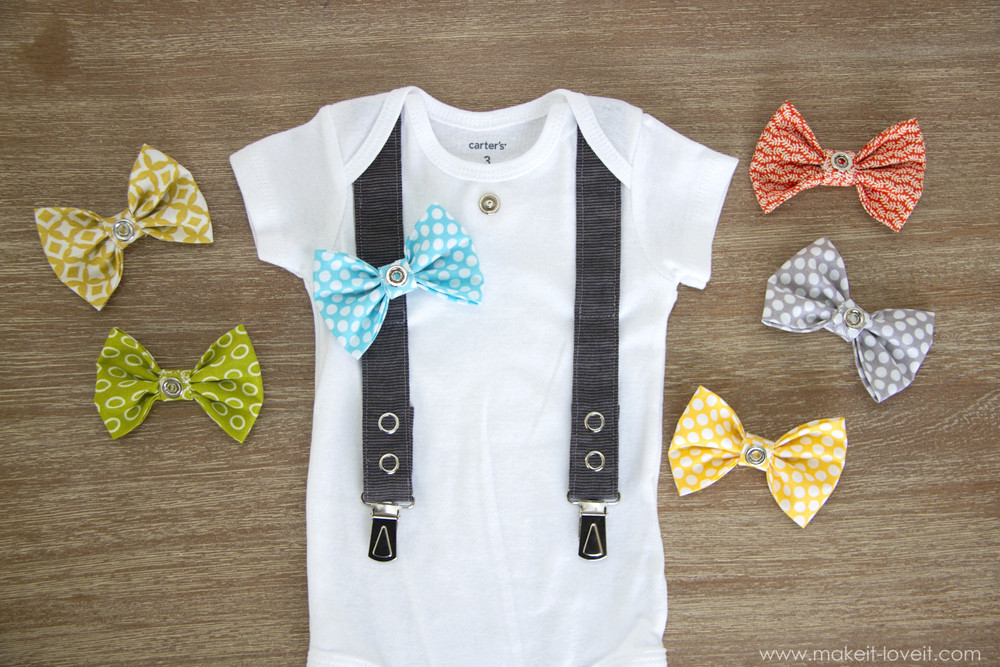 Best ideas about DIY Baby Bow Ties . Save or Pin Baby Boy Cardigan esie with interchangeable bowties Now.