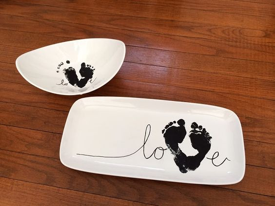 Best ideas about DIY Baby Footprints . Save or Pin DIY a baby footprint love plate for grandparents this year Now.