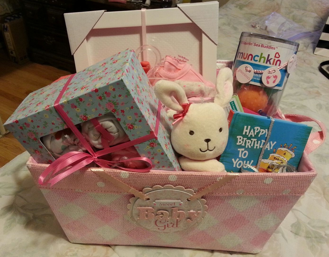 Best ideas about DIY Baby Gift Baskets . Save or Pin DIY baby girl t basket Pop up book stuffed animal Now.
