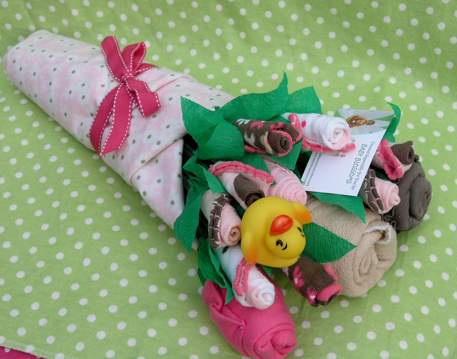 Best ideas about DIY Baby Girl Gifts . Save or Pin Baby Clothes Bouquet for Girls Unique Baby by babyblossomco Now.