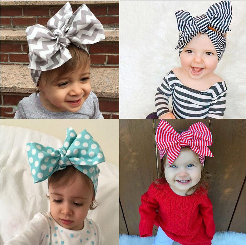 Best ideas about DIY Baby Head Wraps . Save or Pin 2016 Headband DIY Tie Bow Hairbands Big Bow Cute Dot Print Now.