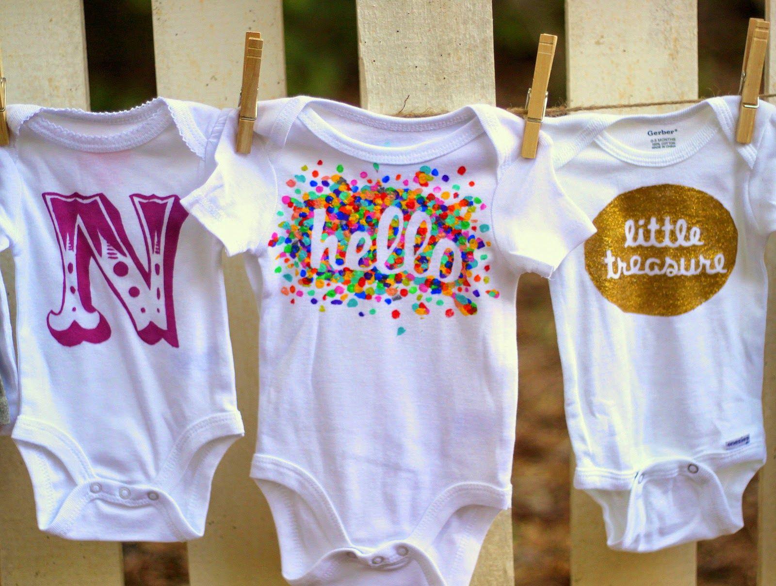 Best ideas about DIY Baby Onesies . Save or Pin 15 modern cool DIY Freezer paper stencil onesie designs Now.