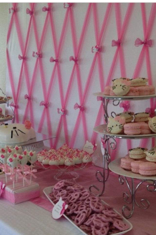 Best ideas about DIY Baby Shower Backdrop . Save or Pin Close up on pink tulle backdrop for hello kitty baby Now.