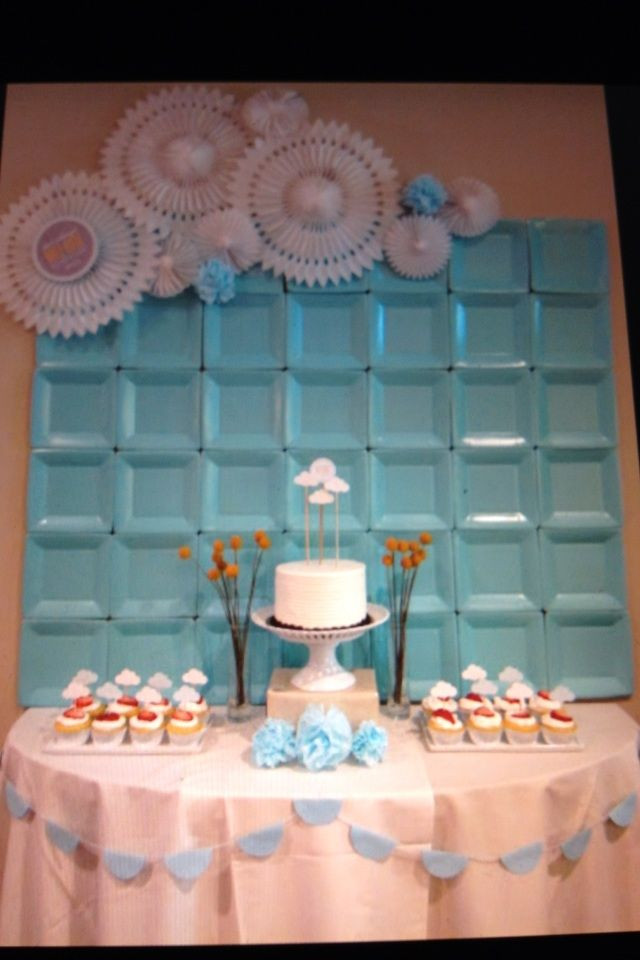 Best ideas about DIY Baby Shower Backdrop . Save or Pin Wall decor backdrop at a shower for a baby boy using Now.
