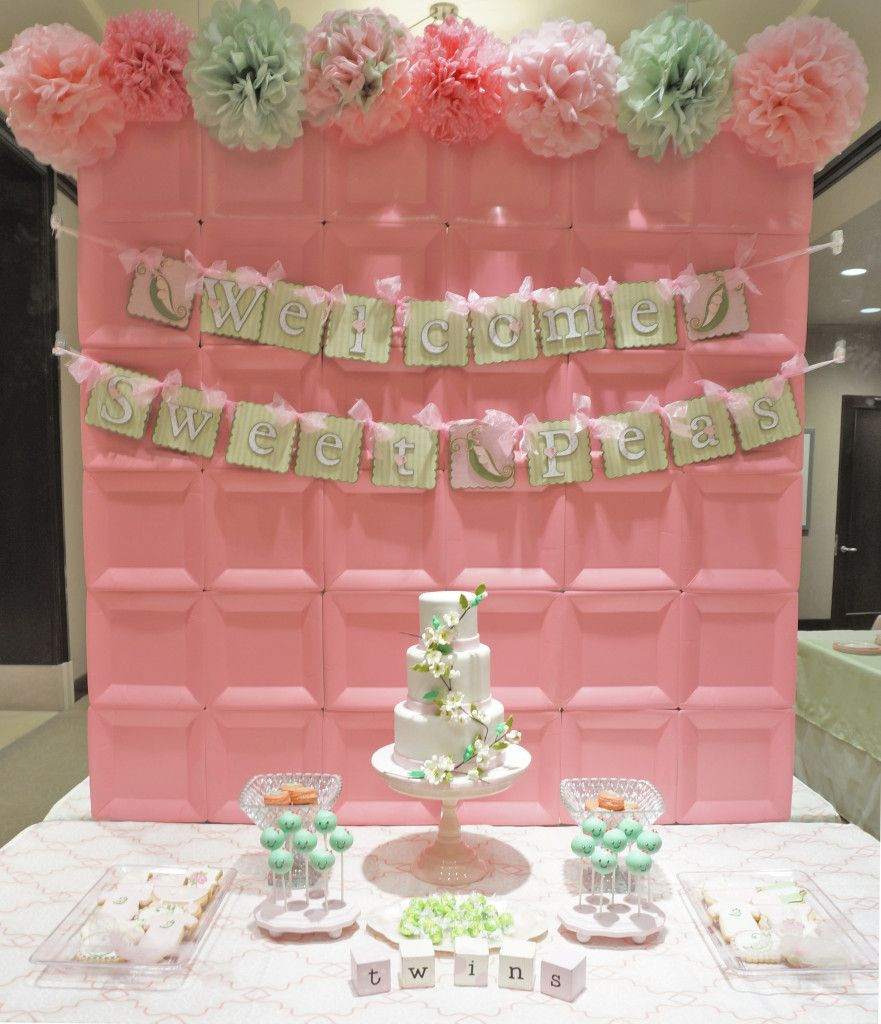 Best ideas about DIY Baby Shower Backdrop . Save or Pin Sweet Pea Pod Twin Girls Baby Shower Now.