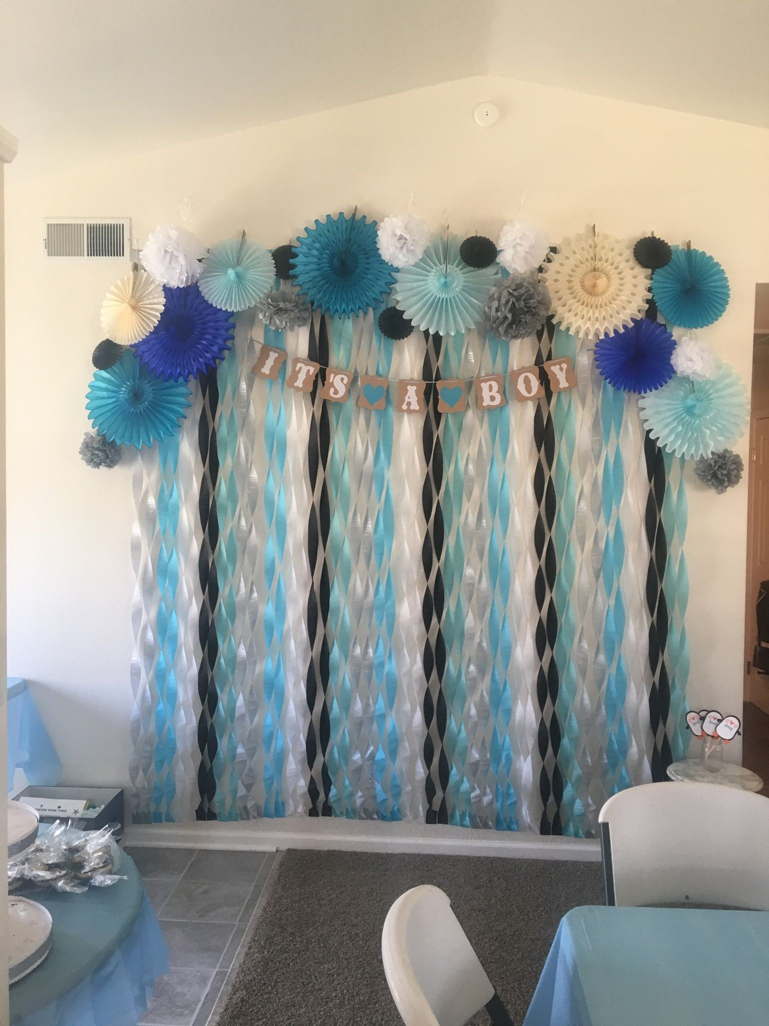 Best ideas about DIY Baby Shower Backdrop . Save or Pin Penguin Themed Baby Shower backdrop Now.