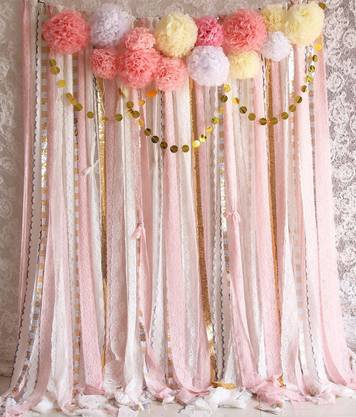 Best ideas about DIY Baby Shower Backdrop . Save or Pin Pink white Lace Pom Poms flowers Sparkle fabric backdrop Now.