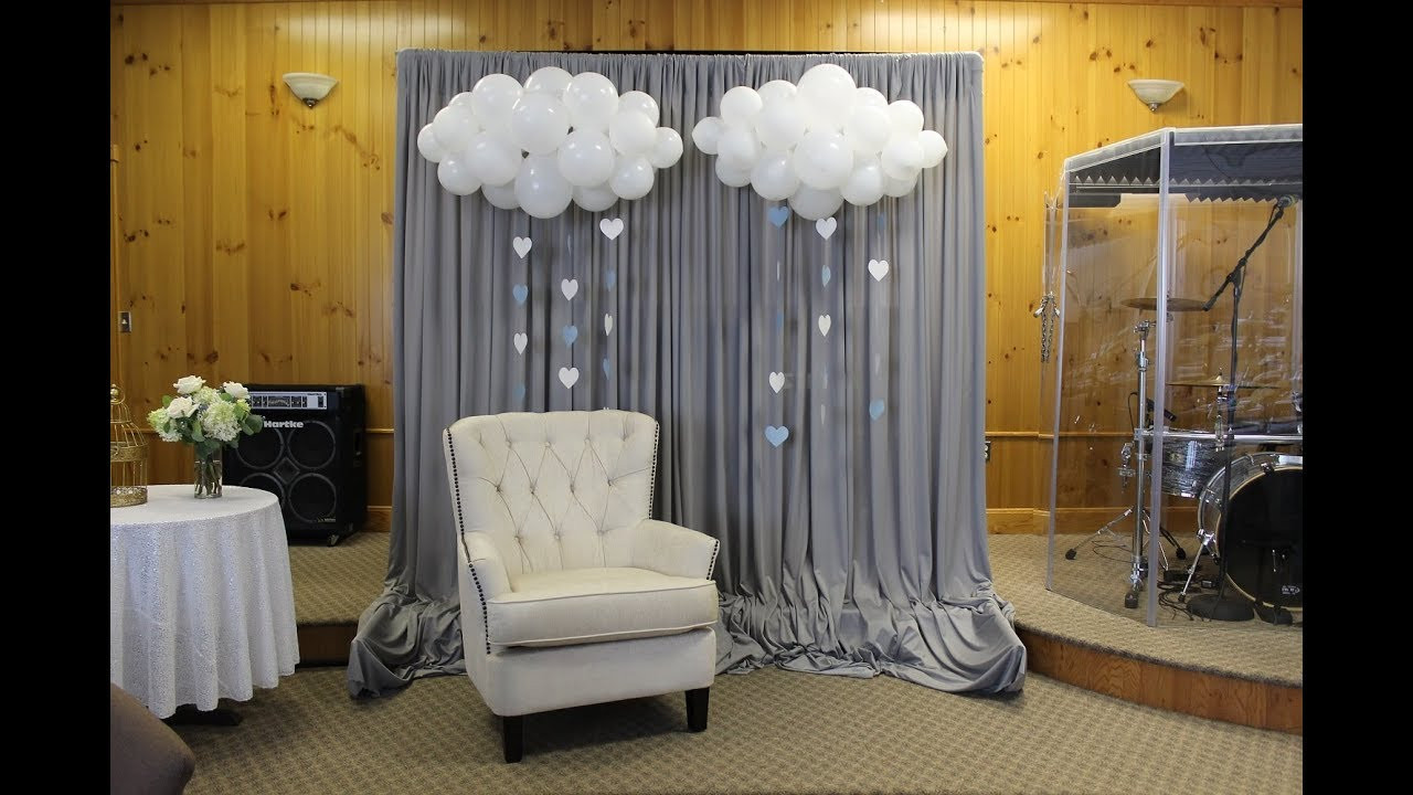 Best ideas about DIY Baby Shower Backdrop . Save or Pin Baby Shower Backdrop Set Up Now.