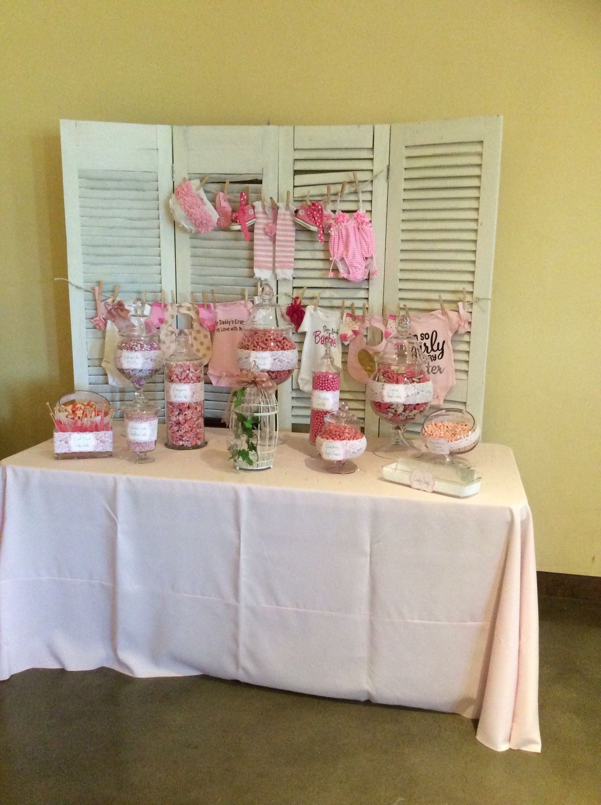 Best ideas about DIY Baby Shower Backdrop . Save or Pin DIY baby shower backdrop and candy bar Now.