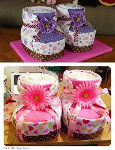 Best ideas about DIY Baby Shower Cakes . Save or Pin DIY Diaper Cake Baby Booties for Baby Shower Now.
