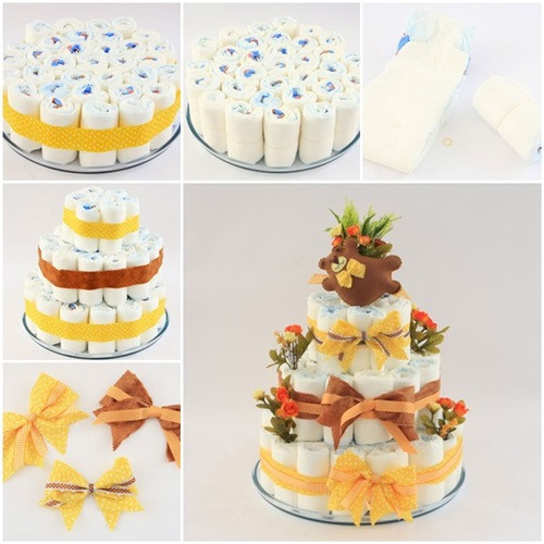 Best ideas about DIY Baby Shower Cakes . Save or Pin DIY Diaper Cake for Baby Shower Now.