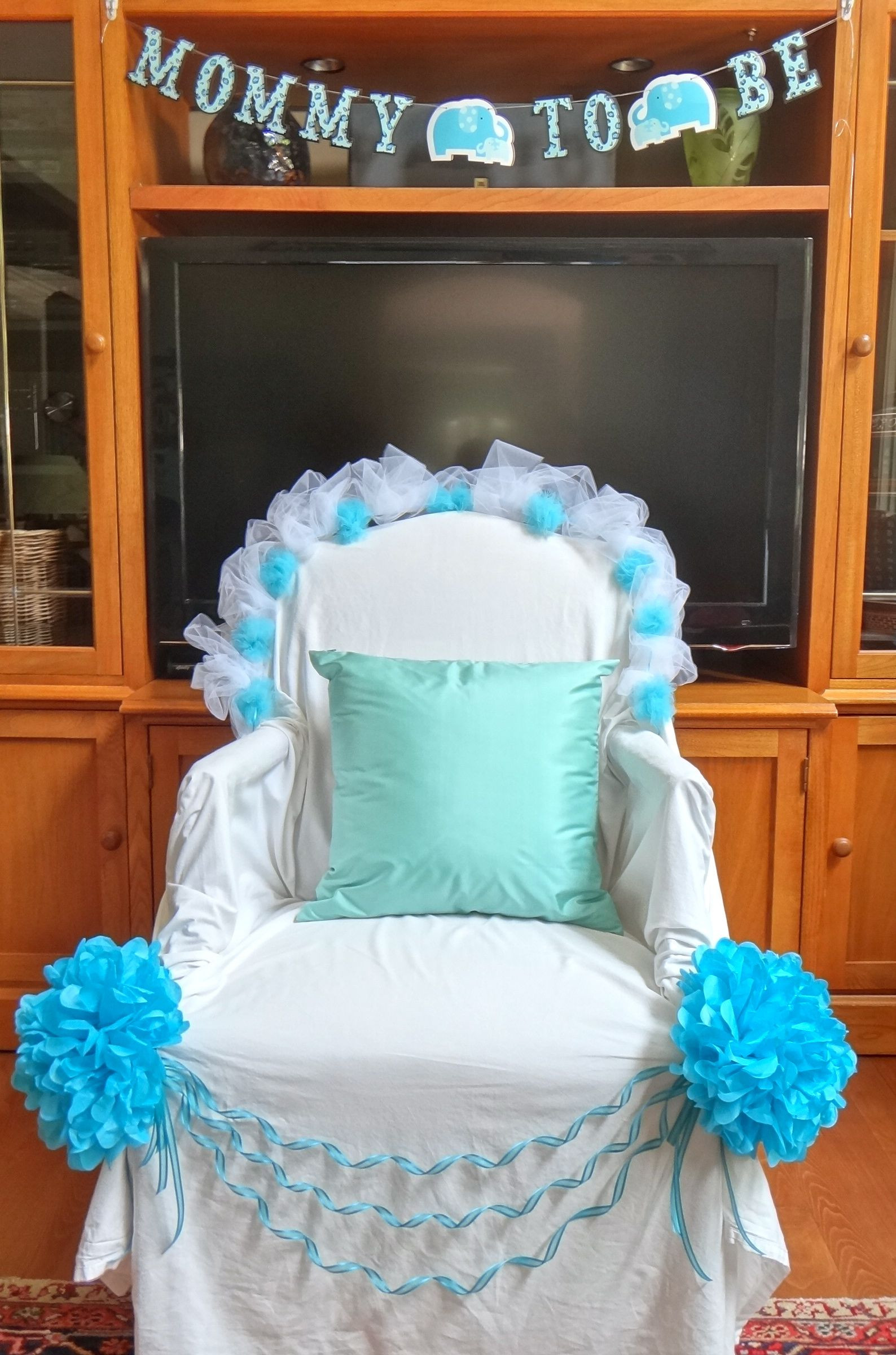 Best ideas about DIY Baby Shower Chair . Save or Pin Mom to be thrown Chair draped with a white bed sheet and Now.