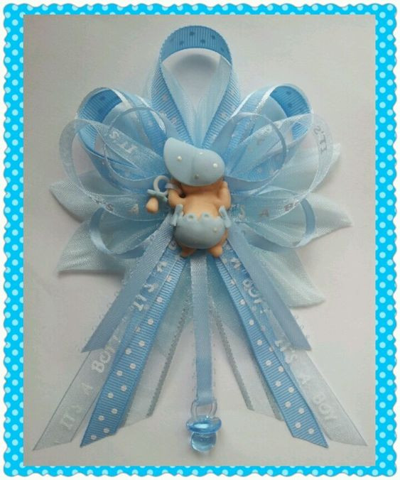 Best ideas about DIY Baby Shower Corsage . Save or Pin Blue It s a boy Mommy baby shower corsage Now.
