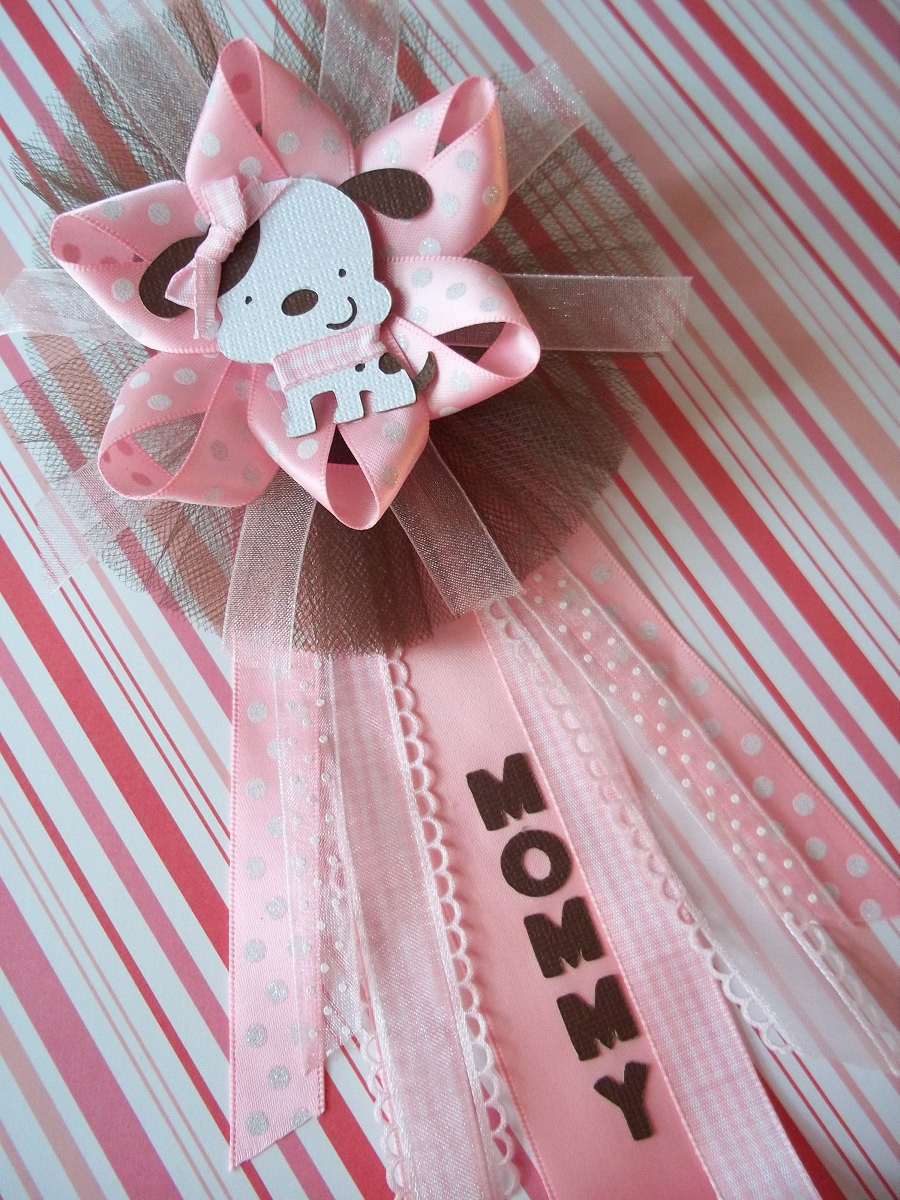 Best ideas about DIY Baby Shower Corsage . Save or Pin Puppy Baby Shower Mommy CORSAGE in Pink and Brown Now.