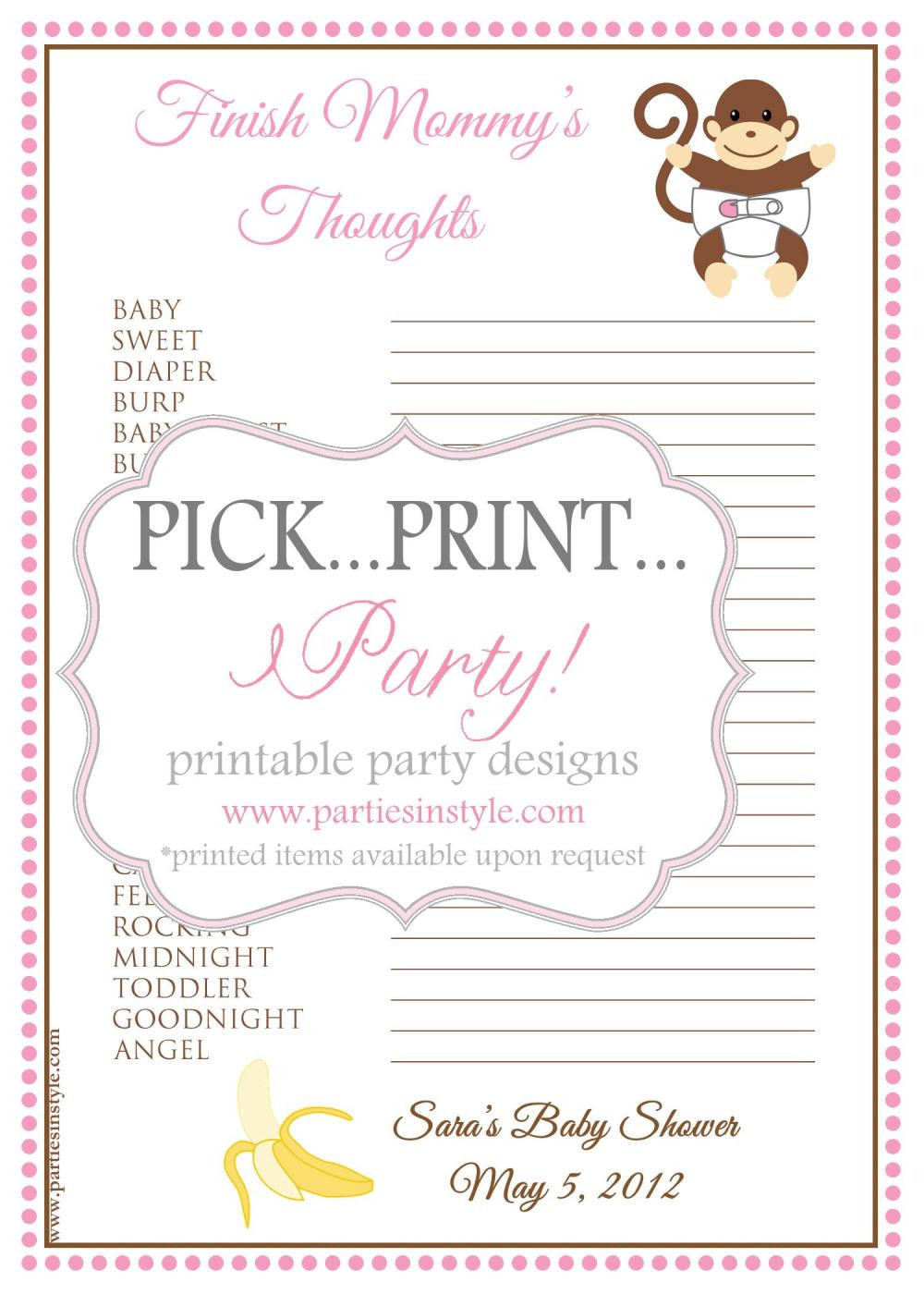 Best ideas about DIY Baby Shower Games . Save or Pin Baby Shower Game Finish Mommy s Thoughts Printable DIY Now.