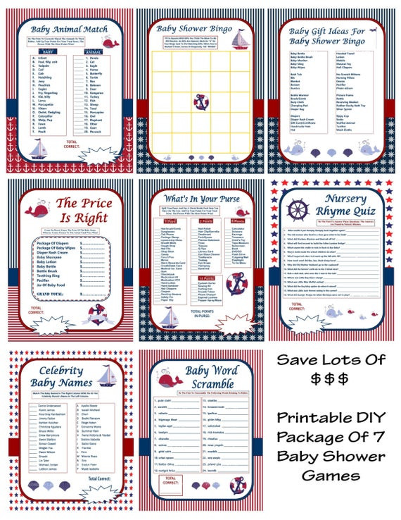 Best ideas about DIY Baby Shower Games . Save or Pin DIY Nautical Baby Shower Games Baby Shower Game Package Now.