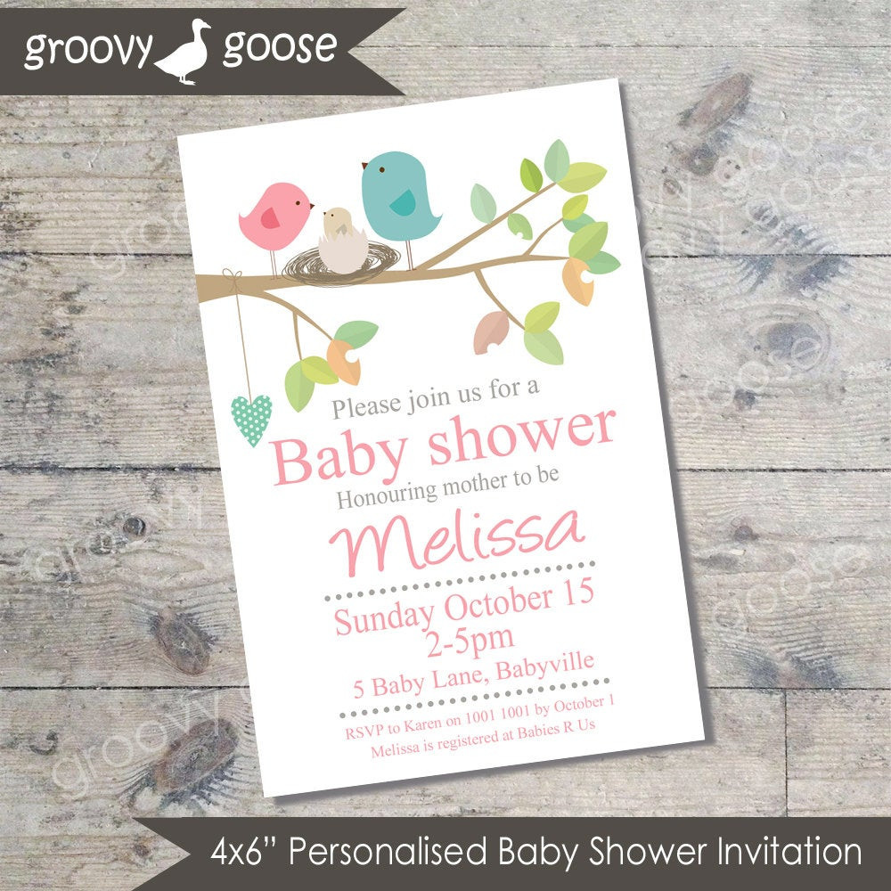 Best ideas about DIY Baby Shower Invites . Save or Pin Bird Nest Baby Shower invitation PINK DIY Printable Baby Now.