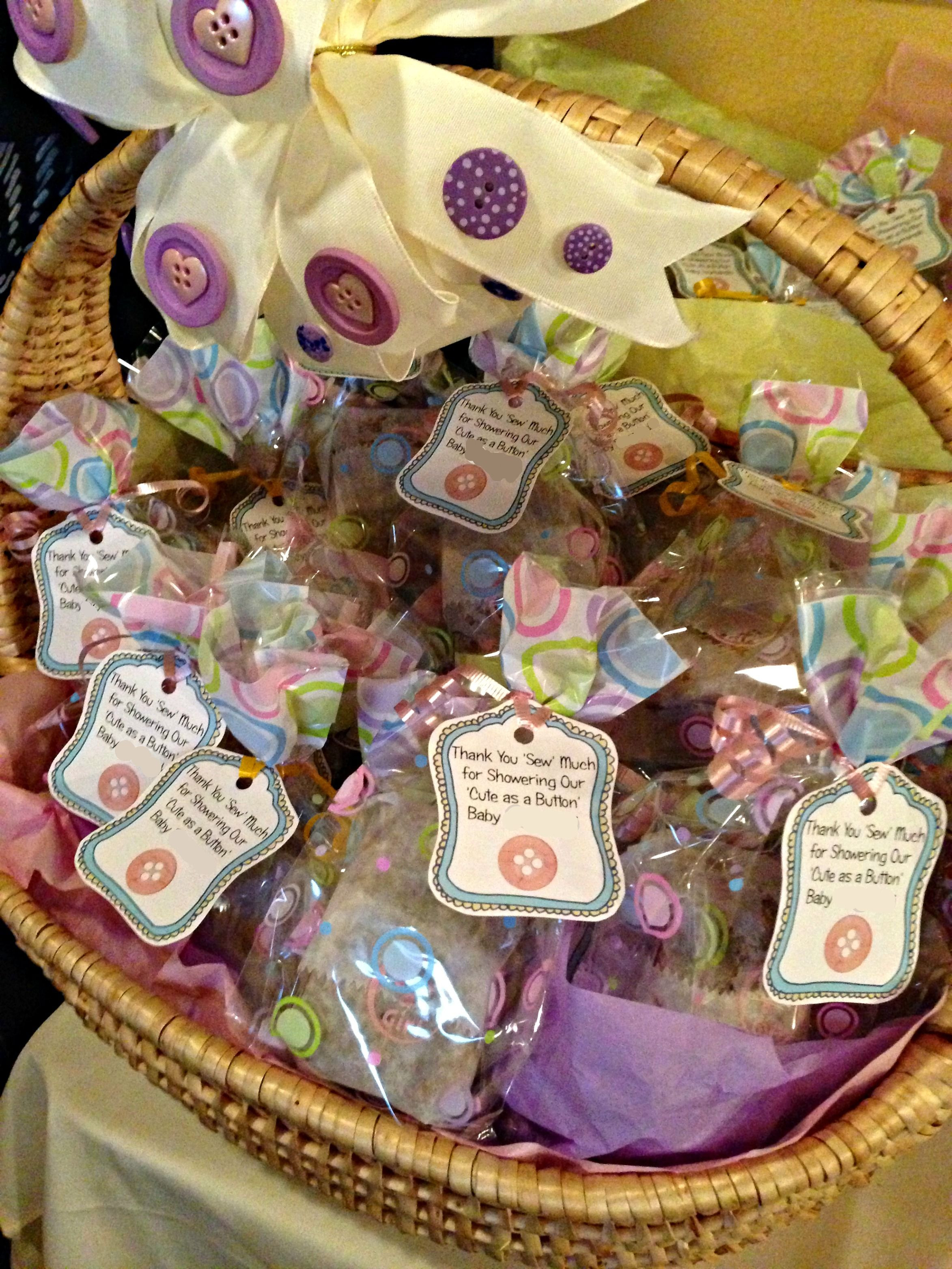 "Best ideas about DIY Baby Shower Party Favors . Save or Pin Cute As A Button baby shower favors ""Thank you SEW much Now."