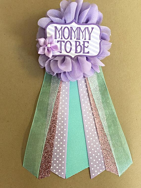 Best ideas about DIY Baby Shower Pins . Save or Pin Purple Teal Aqua Baby Shower corsage pin baby shower pin mommy Now.