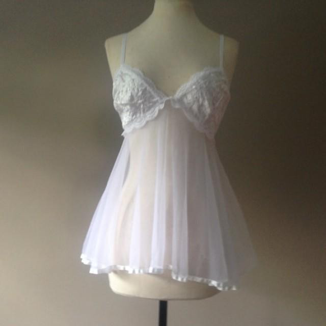 Best ideas about DIY Babydoll Nightie . Save or Pin M Sheer Babydoll Nightie White Nylon With Satin Size Now.