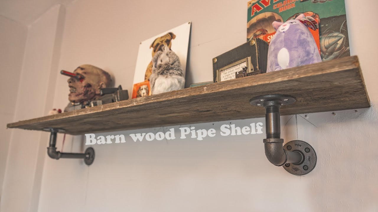 Best ideas about DIY Barn Wood Shelves . Save or Pin DIY Pipe Shelf Barn wood Now.