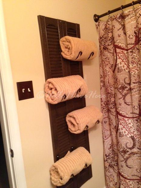 Best ideas about DIY Bathroom Towel Rack . Save or Pin DIY Shutter Towel Rack Now.