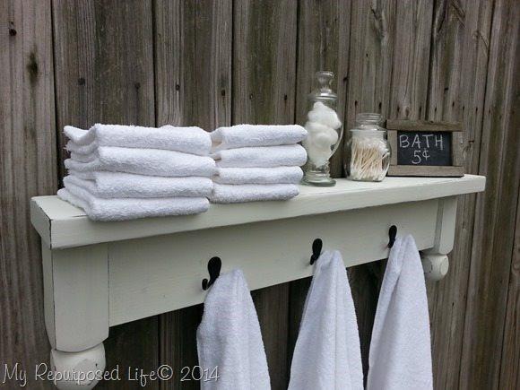 Best ideas about DIY Bathroom Towel Rack . Save or Pin table shelf towel rack My Repurposed Life Now.