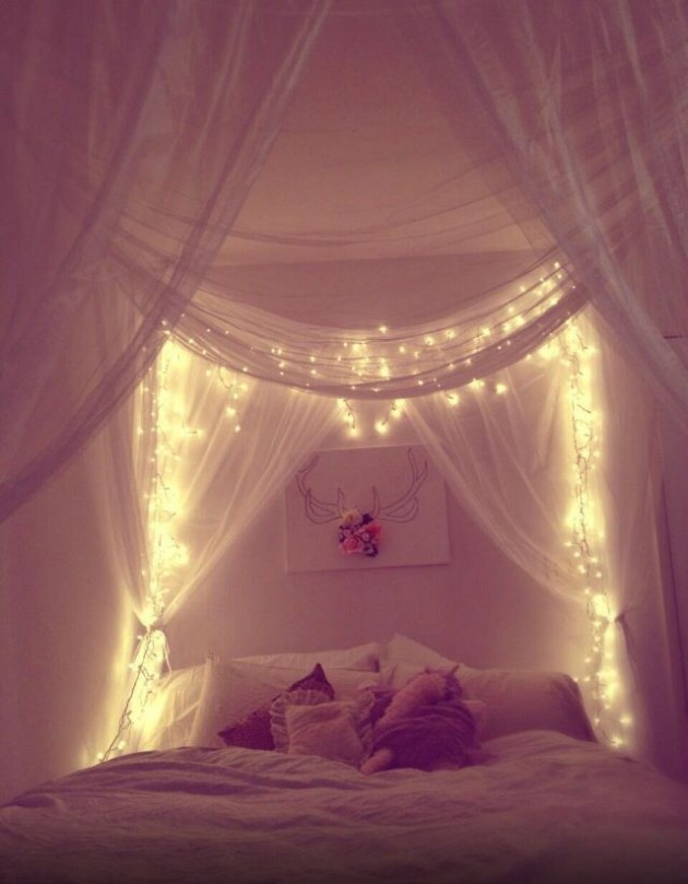 Best ideas about DIY Bed Canopy With Lights . Save or Pin 23 Amazing Canopies with String Lights Ideas Now.