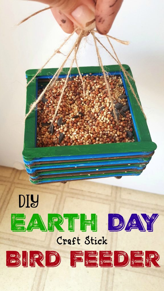 Best ideas about DIY Bird Feeders For Kids . Save or Pin DIY Bird Feeder Earth Day Craft Sticks Craft for Kids Now.