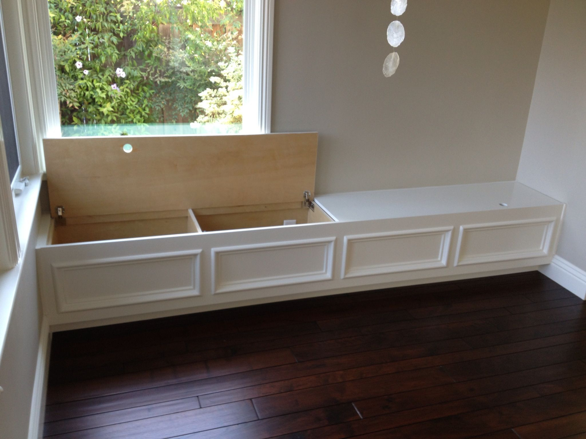Best ideas about DIY Built In Bench . Save or Pin Built in bench seat with storage Put along wall in family Now.