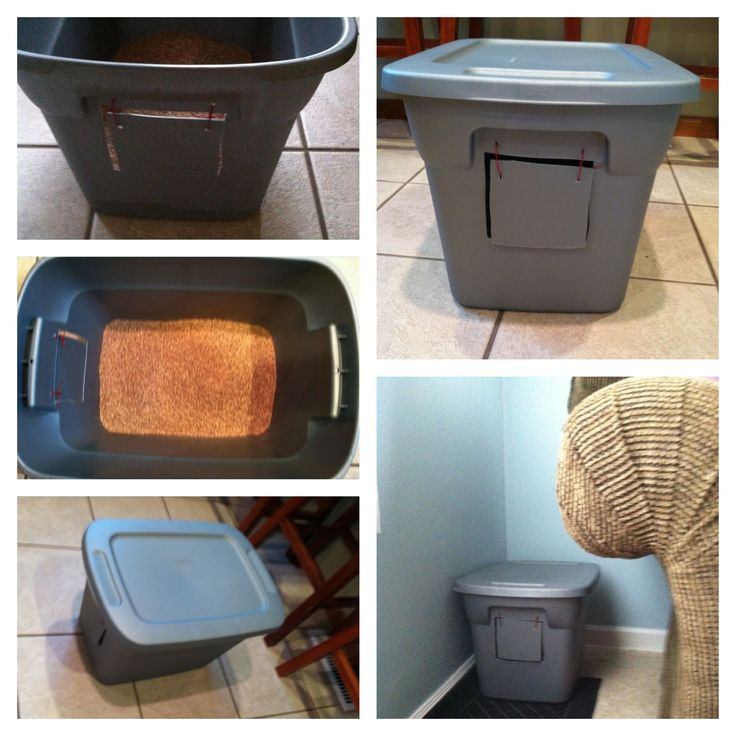 Best ideas about DIY Cat Litter Boxes . Save or Pin DIY cat litter box Just draw the square & holes then use Now.
