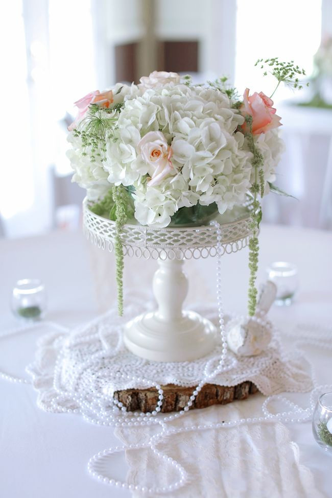 Best ideas about DIY Centerpieces For Weddings . Save or Pin Vintage Inspired Rose and Hydrangea Centerpiece With Pearls Now.