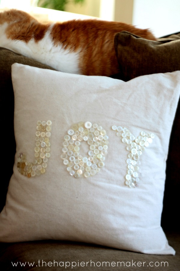 Best ideas about DIY Christmas Pillow . Save or Pin DIY Fabric Scrap and Button Drop Cloth Pillows Homemade Now.