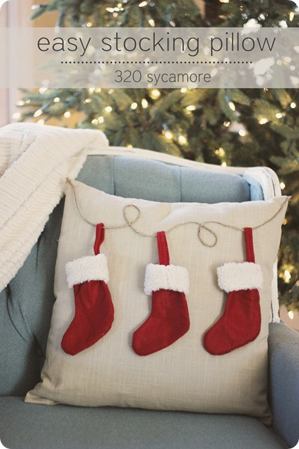 Best ideas about DIY Christmas Pillow . Save or Pin easy $6 christmas stocking pillow Now.