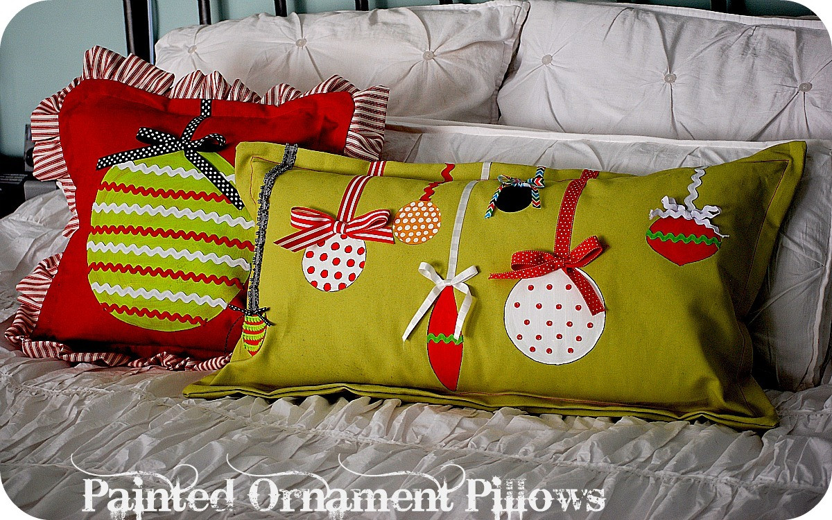 Best ideas about DIY Christmas Pillow . Save or Pin Christmas Project make Painted Ornament Pillows Now.