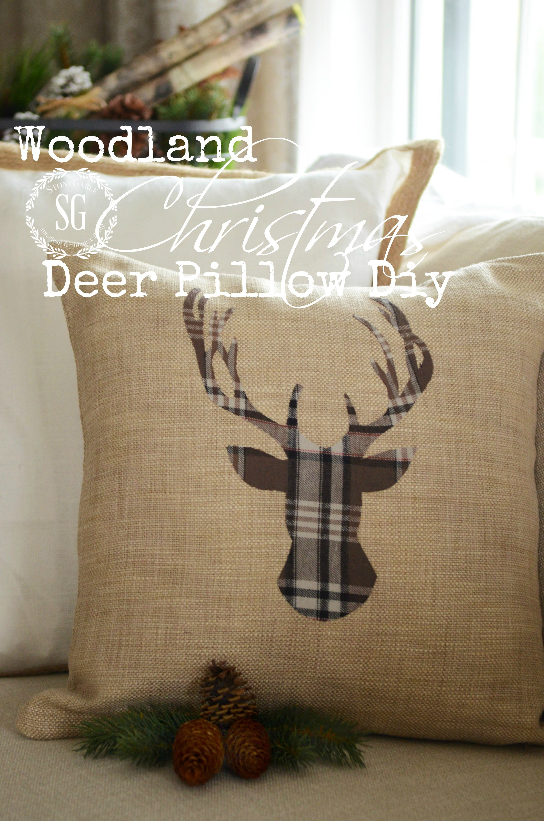 Best ideas about DIY Christmas Pillow . Save or Pin WOODLAND CHRISTMAS DEER PILLOW DIY StoneGable Now.