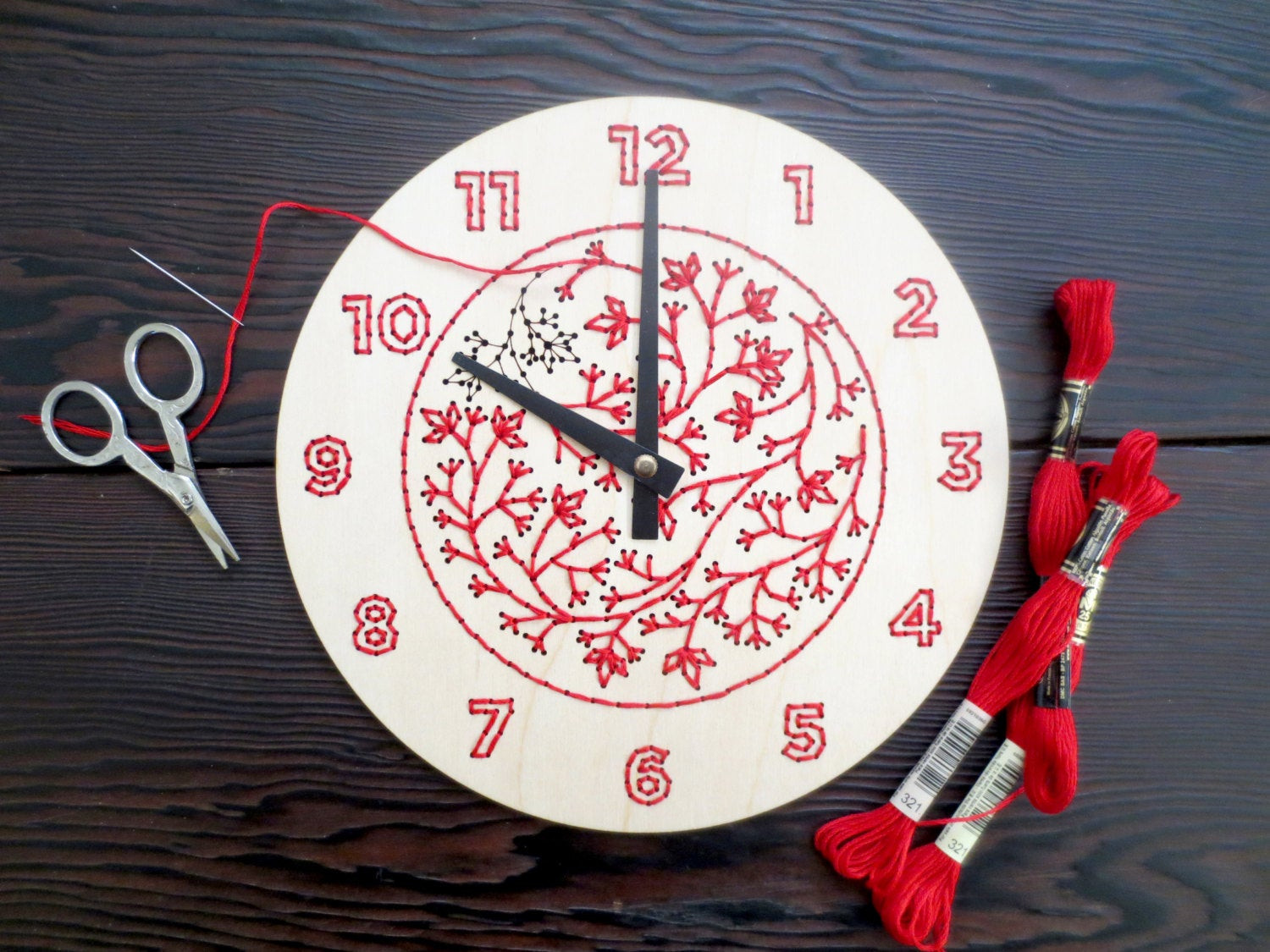 Best ideas about DIY Clock Kit . Save or Pin DIY Embroidery Wood Clock Kit Now.