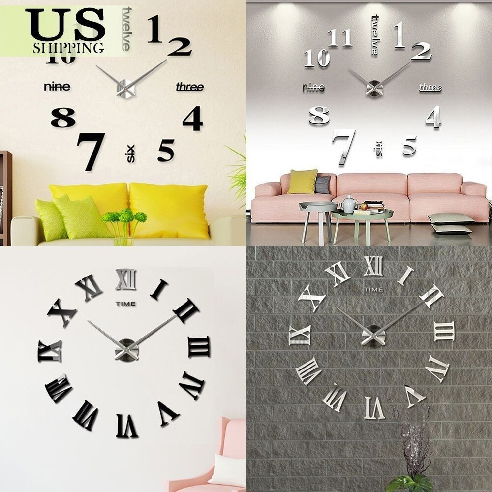 Best ideas about DIY Clock Kit . Save or Pin Modern DIY Wall Clock Kit 3D Mirror Surface Sticker Now.