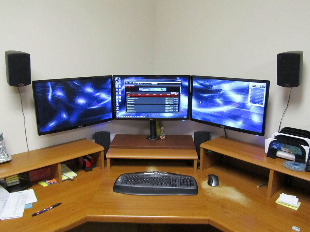 Best ideas about DIY Computer Monitor Stand . Save or Pin WOW DIY triple monitor stand my take on it [H]ard Now.