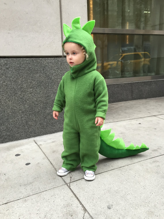 Best ideas about DIY Dinosaur Costume Toddler . Save or Pin Dinosaur Halloween Costume Green Dino kids costume full suit Now.