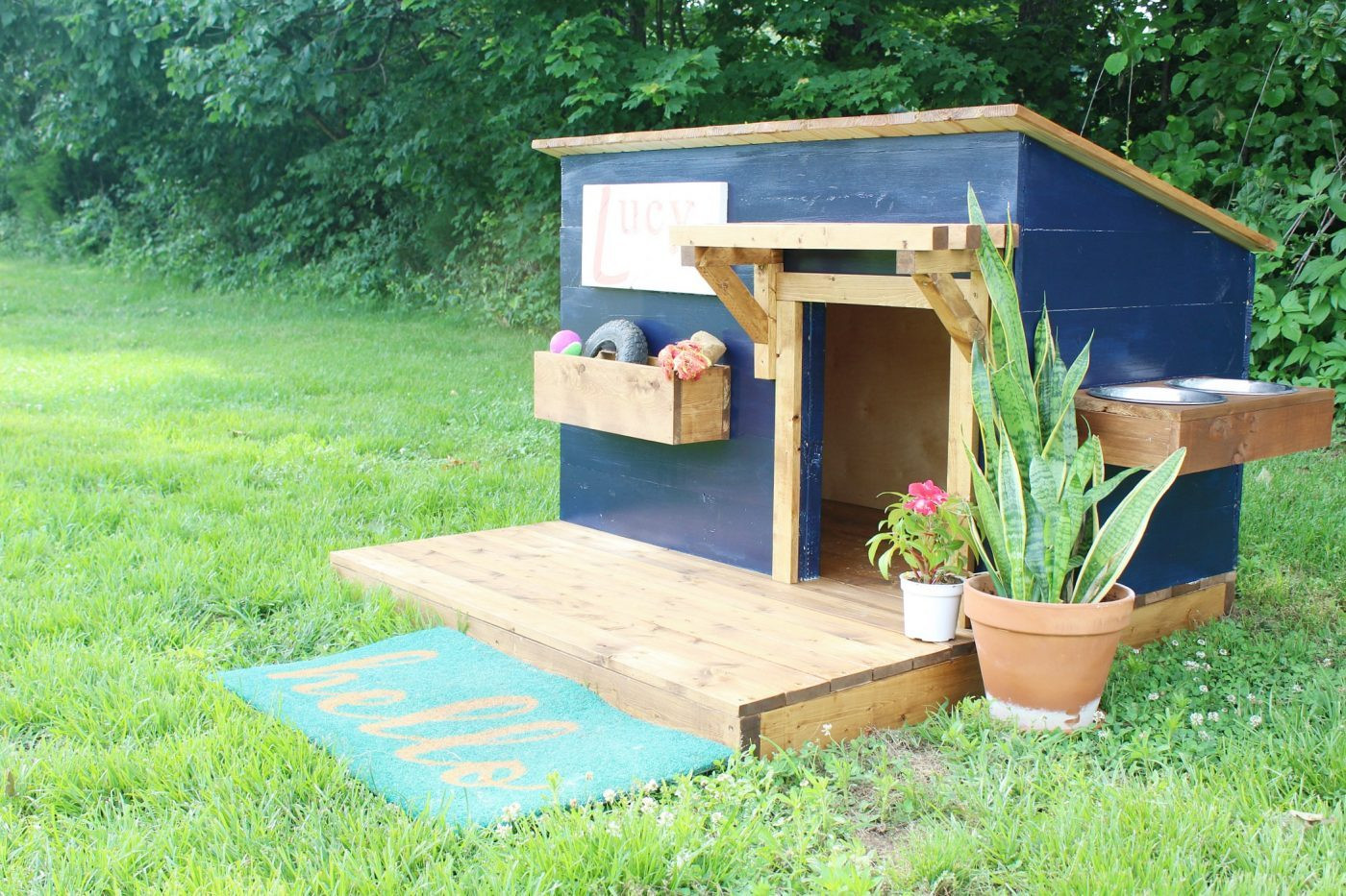 Best ideas about DIY Dog House Ideas . Save or Pin DIY Doghouse with Deck Toy Box and Food Bowl Now.