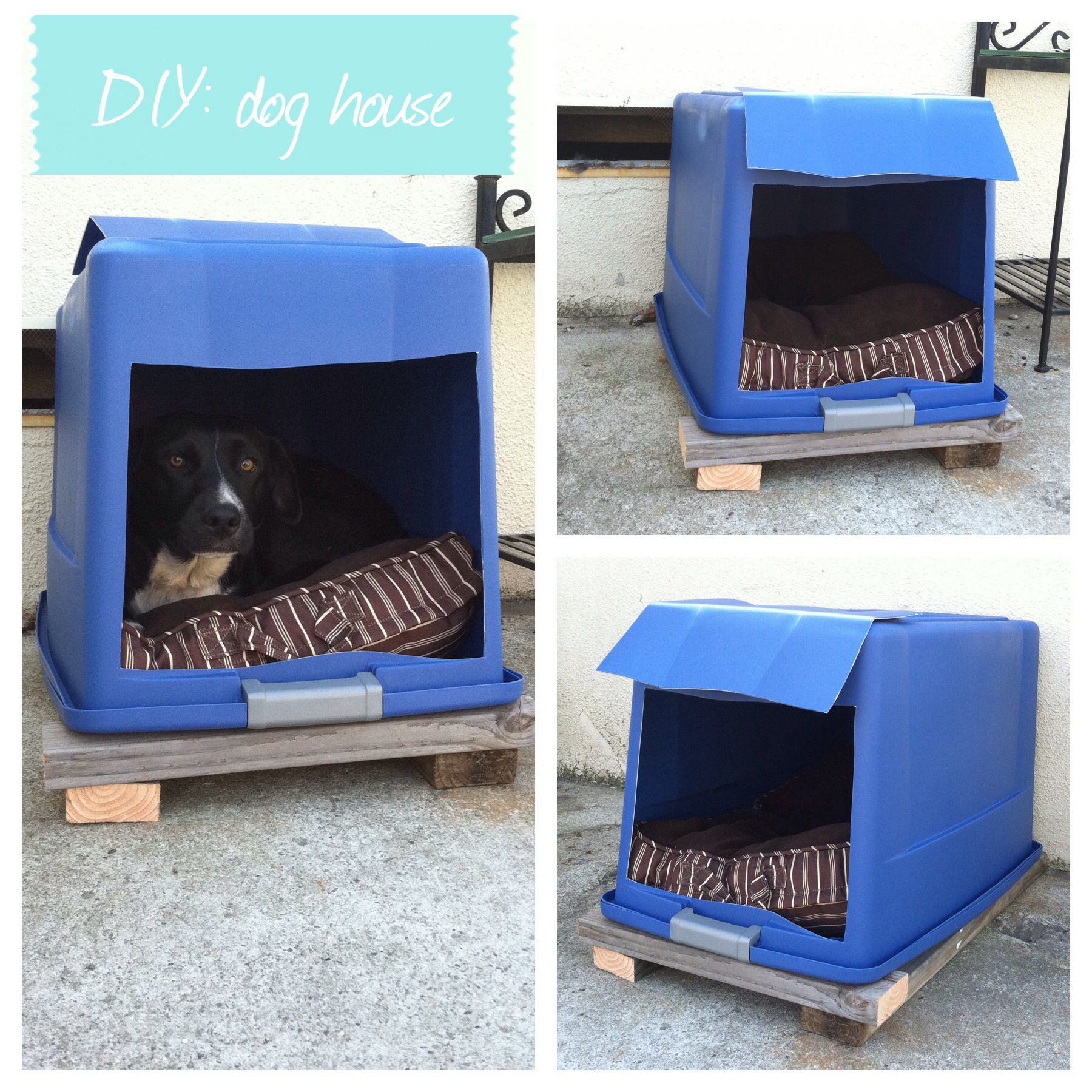 Best ideas about DIY Dog Shelter . Save or Pin DIY dog house plastic bin with lid attached cut a hole Now.