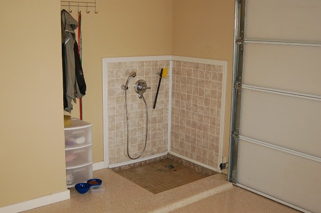 Best ideas about DIY Dog Shower . Save or Pin Dog Bath Transitional Garden Shed and Building Now.