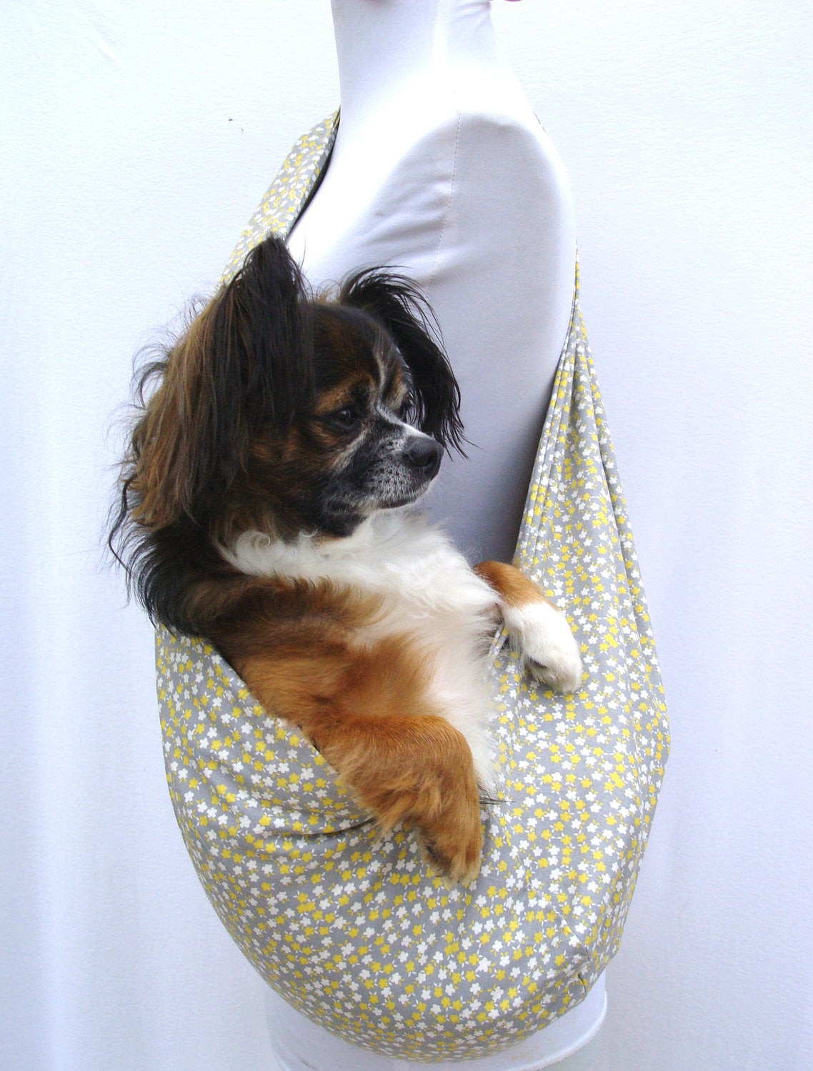 Best ideas about DIY Dog Sling . Save or Pin Pet Carrier Dog Sling Grey and Yellow and Cream Flowers Now.