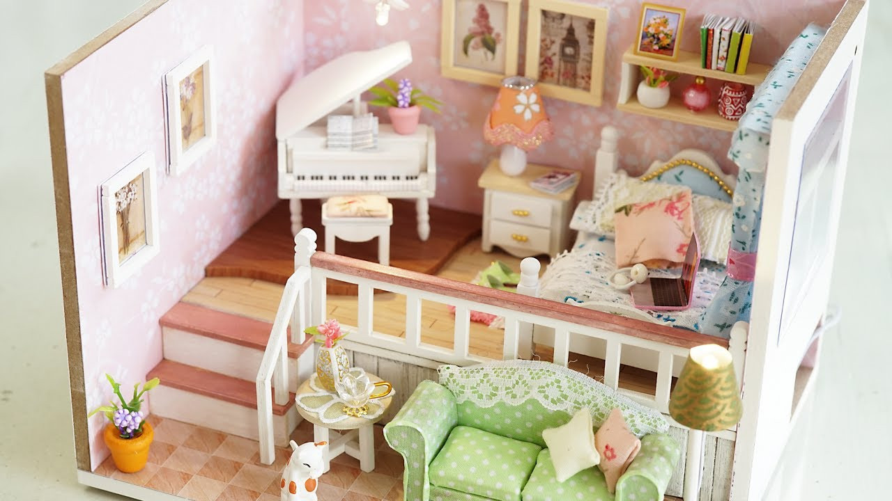 Best ideas about DIY Dollhouse Kit . Save or Pin DIY Girly Miniature Dollhouse kit with Furniture & Lights Now.