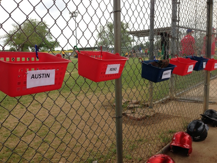 Best ideas about DIY Dugout Organizer . Save or Pin Baskets for our Teeball team to put their glove and hat in Now.